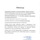 2020.03_referencja_Politechnika Krakowska Instytut Architektury iKonserwacji Zabytkow_pom
